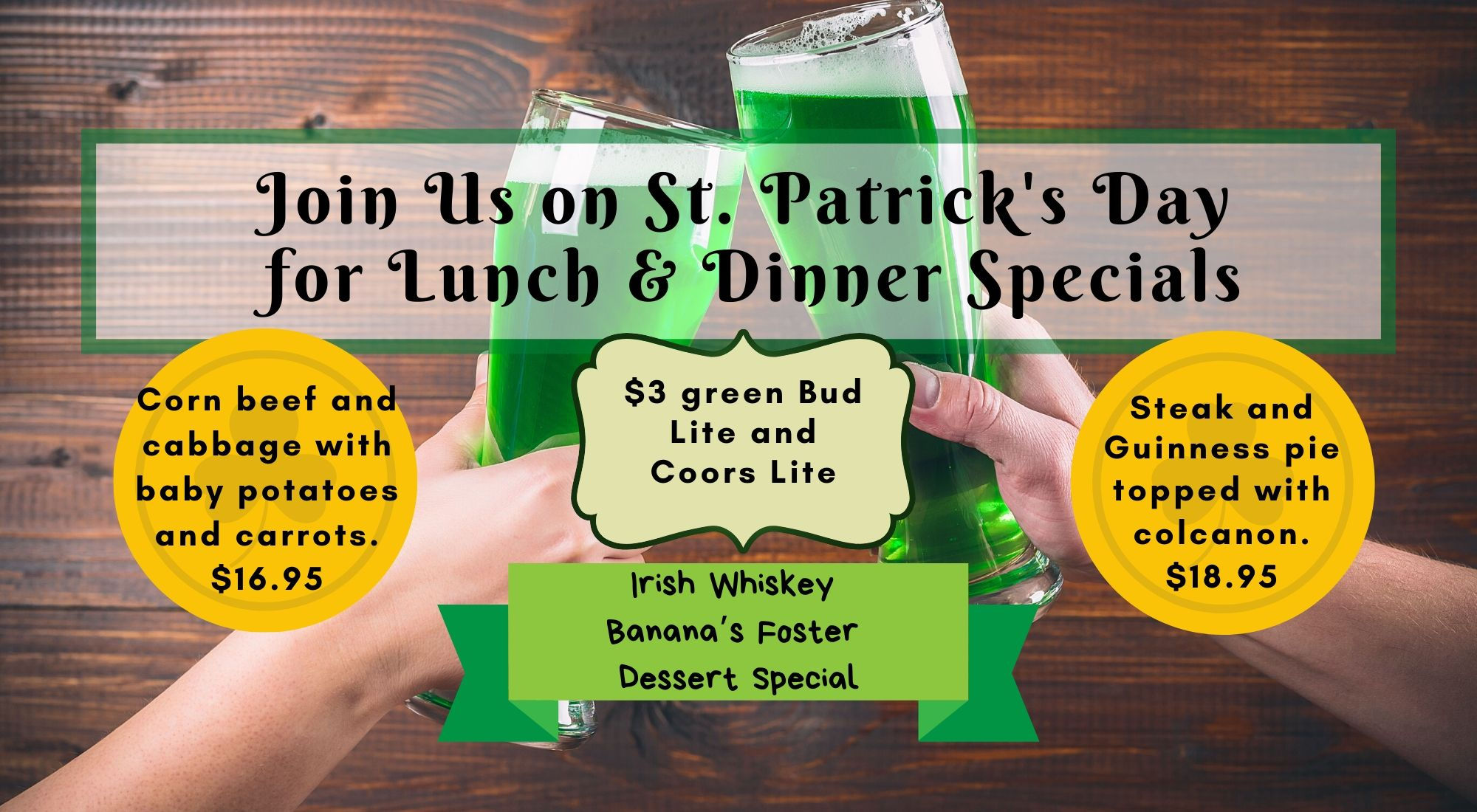 Shade Bar and Grill Nashua - St. Patrick's Day Food and Drink Specials in Nashua